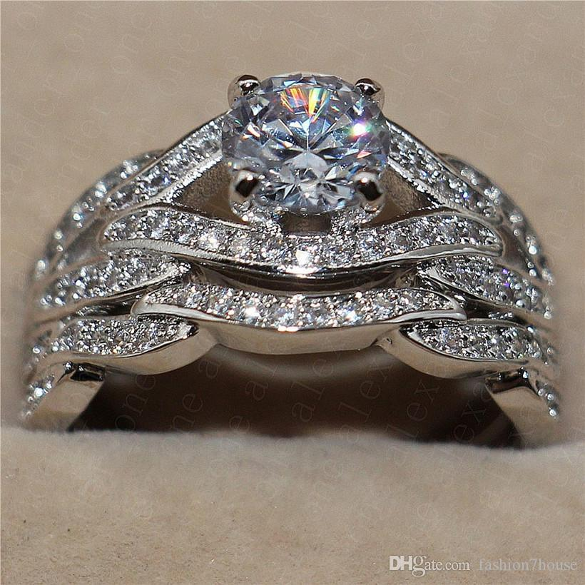 Personality Mix and Match Fashion Wedding Ring Set For Women's Luxury Quality Gemstone Engagement ring 10KT White Gold Filled Jewelry