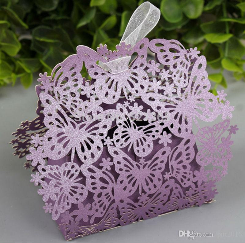 En gros boîte de bonbons papillon creux laser boîte de cadeau de mariage boîtes de chocolat anniversaire faveur cadeau sac décoration de fête