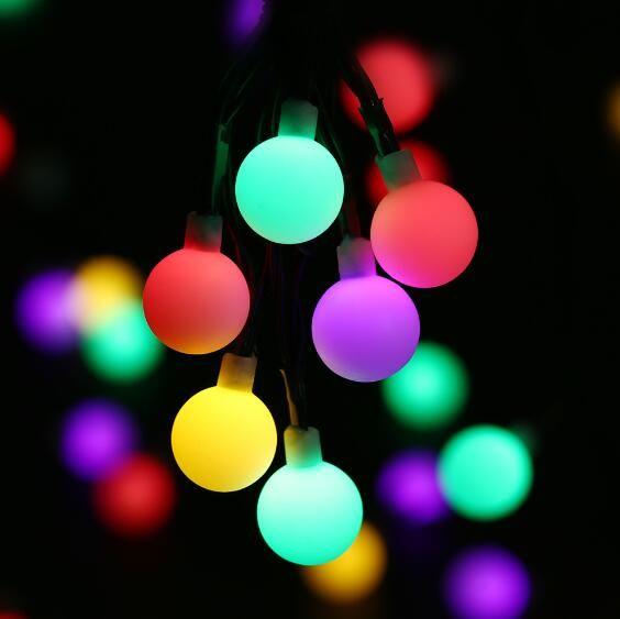 globe solar powered christmas lights 21ft 50led multi color ball string lights decorative lights for indooroutdoorgardenparty orange led string lights