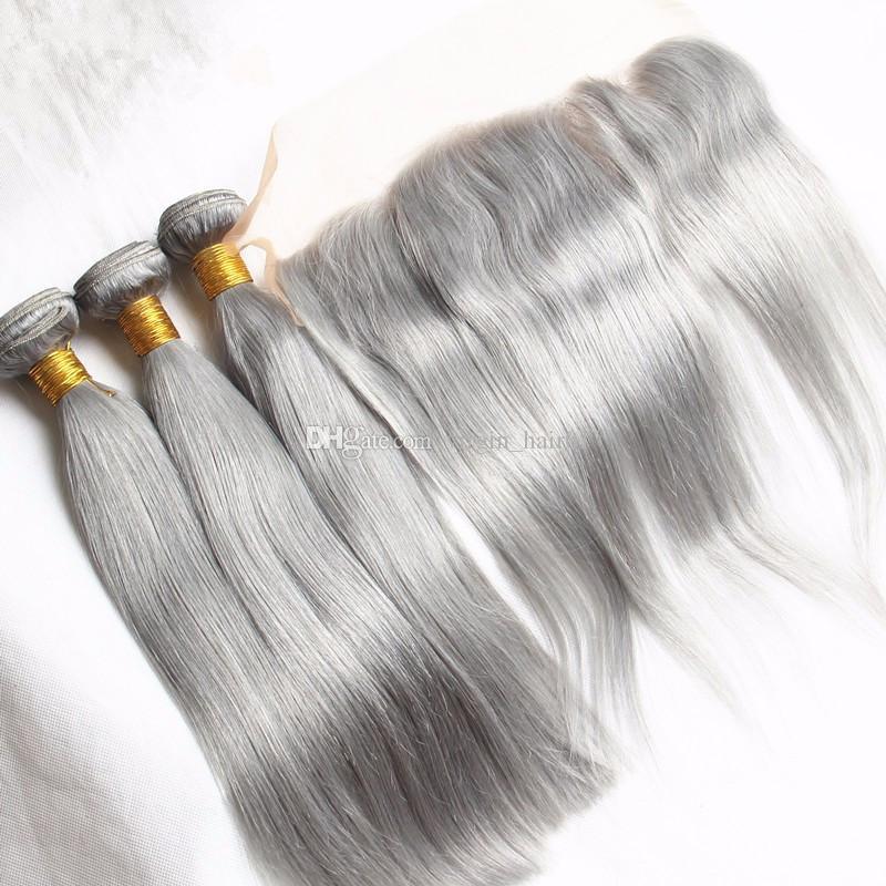 Reine Farbe Silber Grau Brasilianisches Glattes Haar Spinnt 3 Graue Bundles Mit 13x4 Spitze Frontal Seide Gerade Pure Grey Frontal Mit Bundles