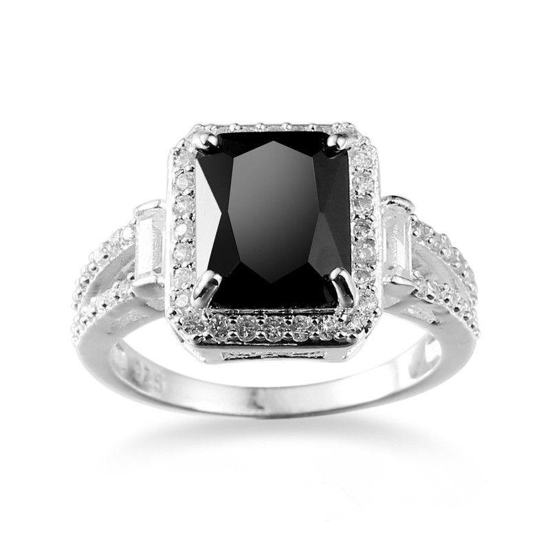 2017 New Big Black Zircon Stone 10KT White Gold Filled Wedding Band Ring For Lady Sz6-10
