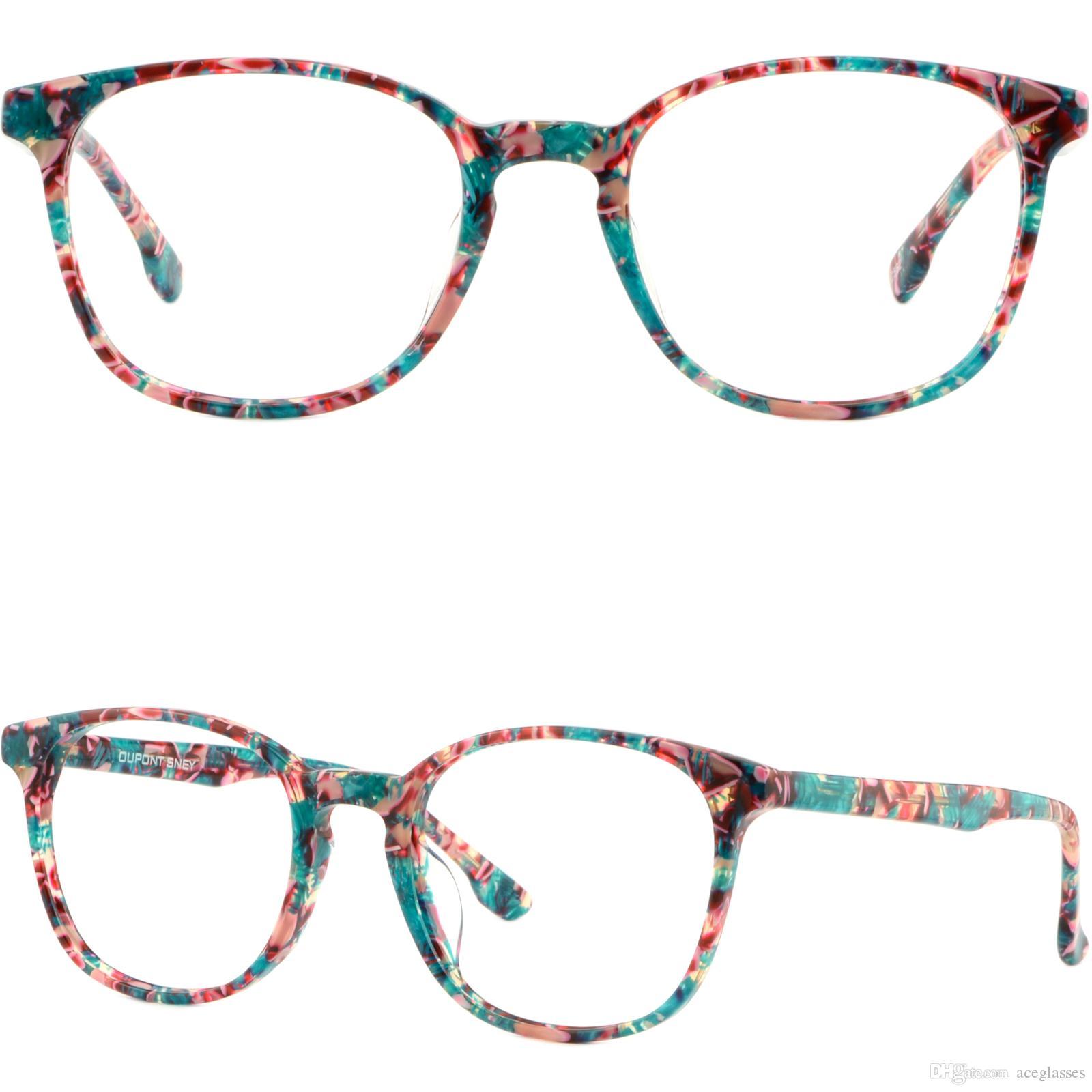 Light Womens Plastic Frames Square Thin Acetate Glasses Green Red ...