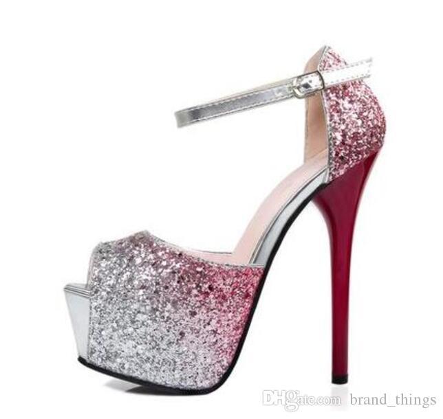 New Spring 2017 Pompe le donne Europa stile Moda tacco alto lucido Paillettes pompe Tacco sottile scarpe da sposa G9219-1