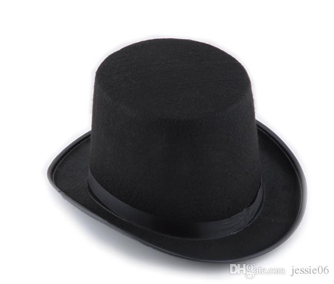 Черный атлас войлок цилиндр волшебник джентльмен взрослый 20-х костюм смокинг викторианской cap Хэллоуин Рождественская вечеринка необычные платья цилиндры подарки