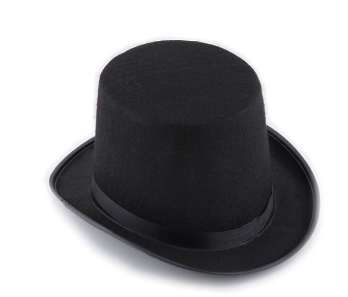 Cetim preto Sentiu cartola cavalheiro mágico adulto 20'S traje smoking vitoriano cap Halloween festa de Natal Fancy Dress Top chapéus presentes