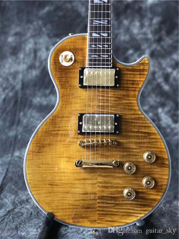 Chitarra elettrica marrone personalizzata di alta qualità, chitarra in palissandro, con guitarra di alta qualità color oro