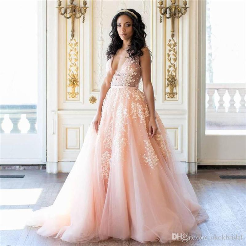 Discount Sexy Blush Pink Wedding Dresses Charming Deep V Neck See ...