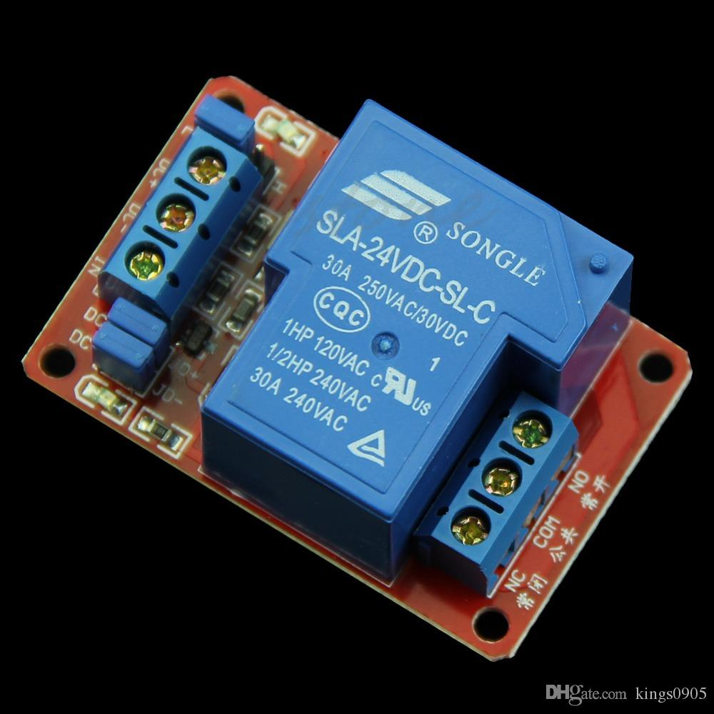 30A 24V 1-Channel Relay Module Board With Optocoupler H/L Level Triger New