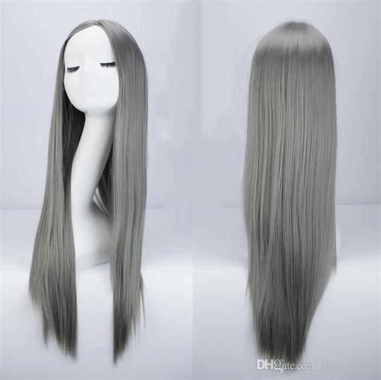 ZF Harajuku Style GrannyHair Parrucca cosplay lunga 75 cm Cos Capelli opachi Fibra ad alta temperatura Marrone Grigio Nero Moda