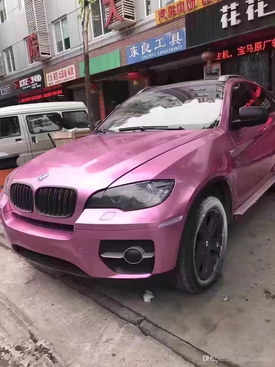 2018 Candy Pink Gloss Metallic Vinyl Wrap For Car Wrap With Air