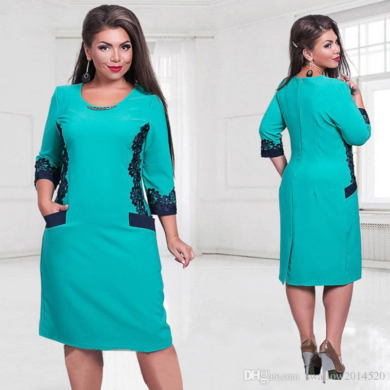 Lace Dress with Pocket and Plate Half Sleeve Solid Color Plus Size Women Clothing New Style Summer Dress Womens O-Neck Knee-Length Dresses