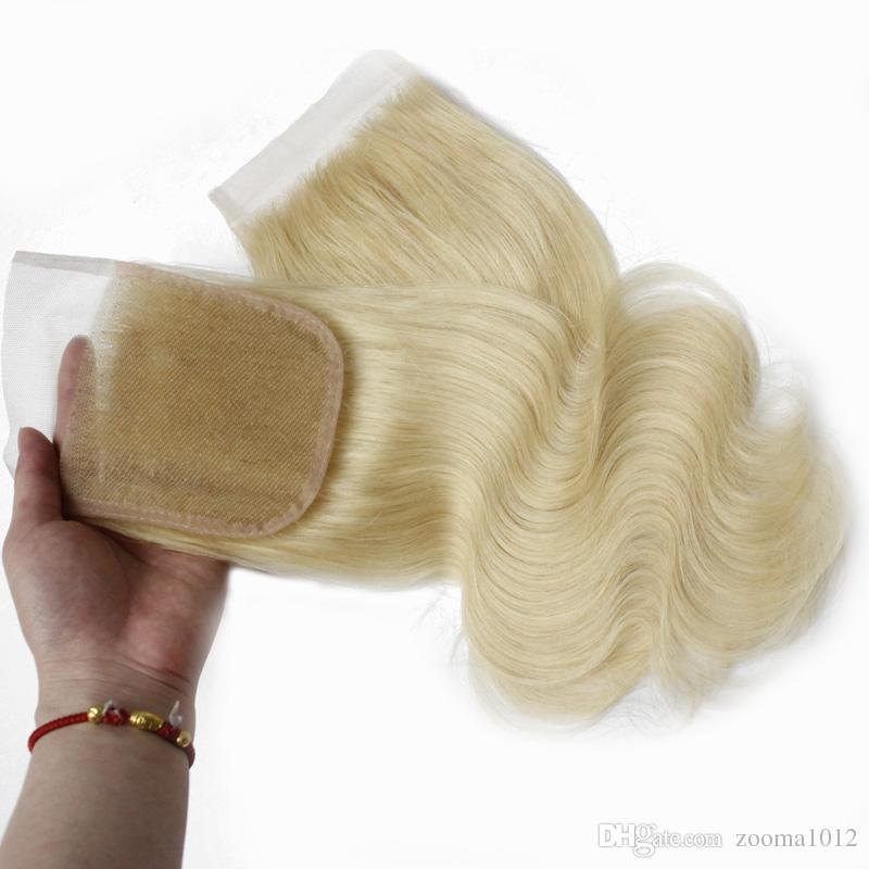 Remy Straight Top Closure Body wave Human Hair Closures Free Part 4x4 Brazilian Virgin Hair Swiss Lace Closure Piece #613 Bleached Knots
