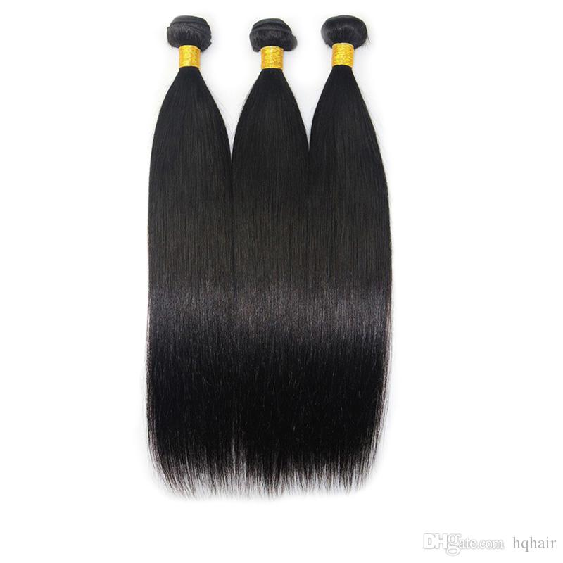 Unprocessed Virgin Indian Hair Weave Bundles Straight Human Hair Weft Natural Color Brazilian Peruvian Malaysian Hair Extensions HQhair