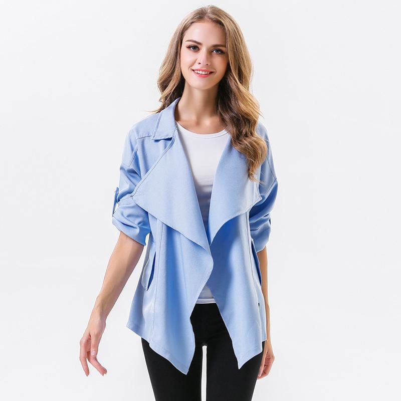 2018 Autumn Winter Jackets For Women Casual Cardigan Turn Down Collar Solid  Color Outwear Coat Long Sleeve Loose Elegant Windbreaker Jacket From  Vogogirl d290af63d