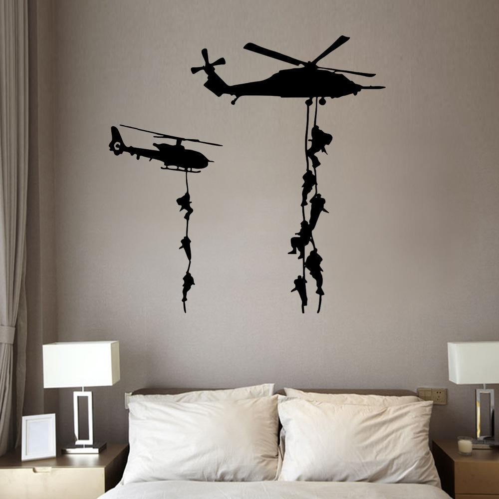 Black Helicopter Wall Stickers Diy Military Plane