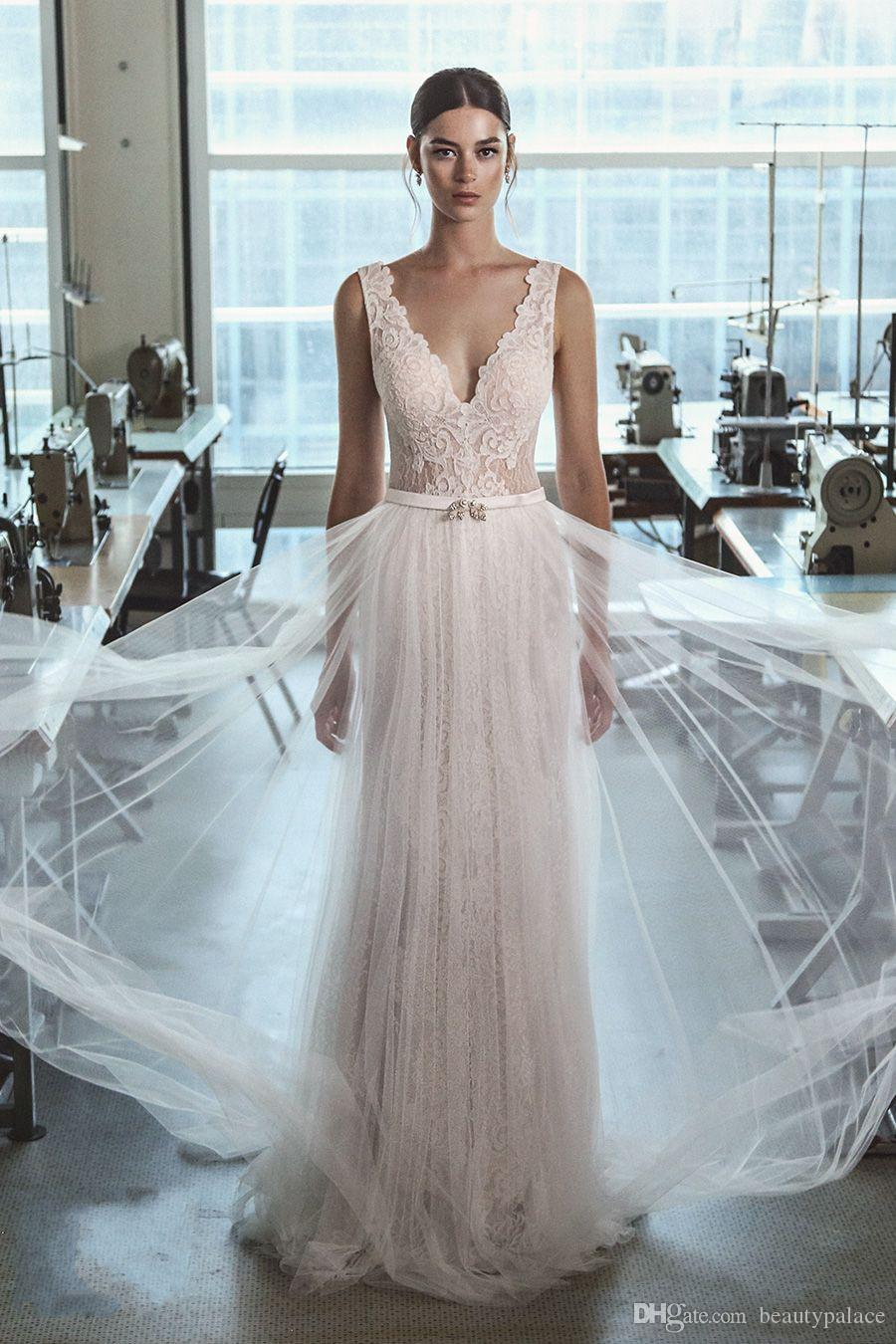 Discount Gorgeous Wedding Dresses 2017 Sheer Applique Lace Beaded ...