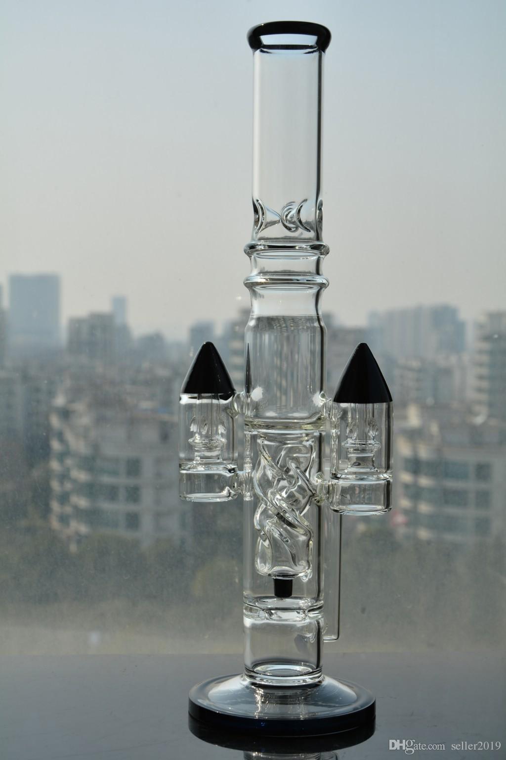 Ракетная установка спирали толстый бонг воды стекло бонги dab rig recycler нефтяные вышки трубы с чашей бесплатная доставка буровые установки