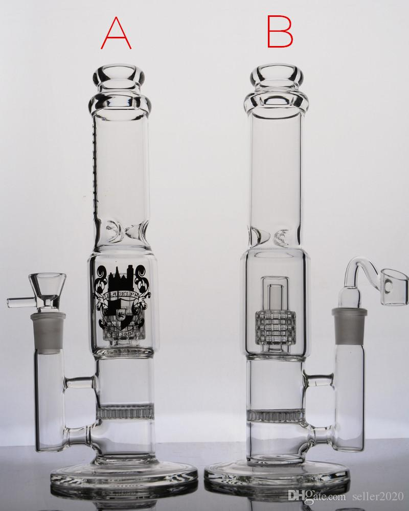 12.6 Inchs Thick Glass Bongs Water Pipe Honeycomb Percolator Bong Tall Big Dab Rigs Straight Tube Hookahs Bong With 14mm Joint