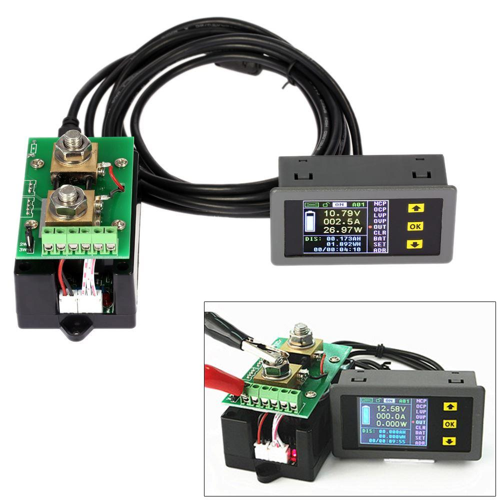 Ammeter Voltmeter Wireless Digital Bi-directional Voltage Current Power Meter Capacity Coulomb Counter DC 0.01-100V 0.1-100A