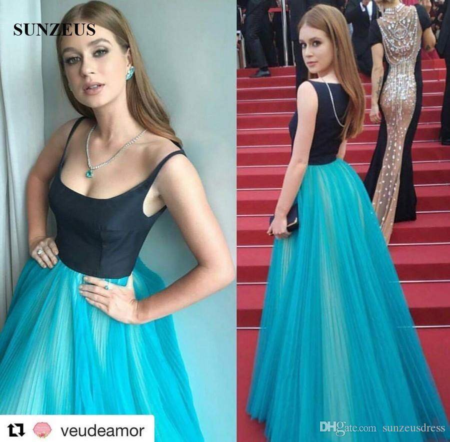 A-line Scoop Neckline Spaghetti Straps Long Pleated Tulle Evening Dress Black Top Blue Skirt Celebrity Gowns Red Carpet Dress
