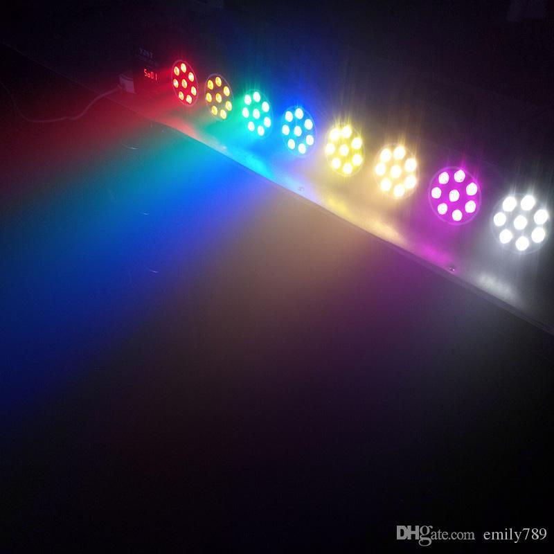 Big Led stage light 64x1W 64W 85-265V High Power 8 head Par Lighting With DMX 512 Master Slave Led Flat DJ Auto-Controller