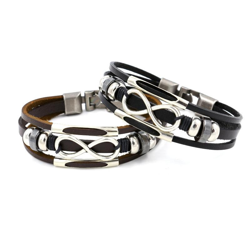 Infinity Leather Bracelet Multilayer Wrap Bracelets Wrist Band Cuffs for Women Men Fashion Jewelry Gift Will and Sandy Drop Ship