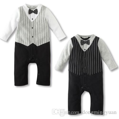 38271fb9a5fb New Born Romper Clothes For Baby Boy Bow Tie Jumpsuit Spring Autumn ...