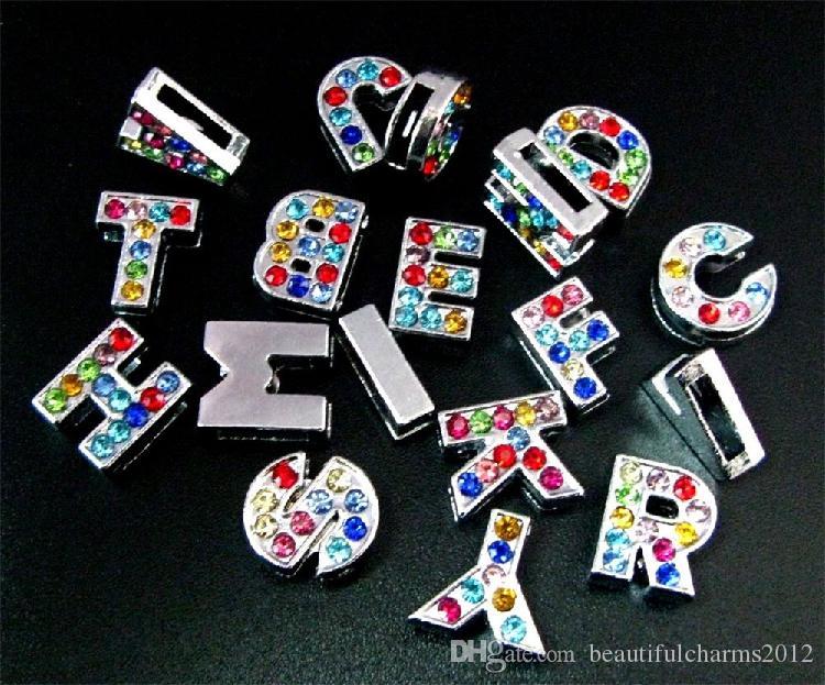 En gros 8mm / A-Z couleur strass plein Glissière lettres accessoires bricolage alphabet fit pour 8mm bracelet en cuir porte-clés 0002