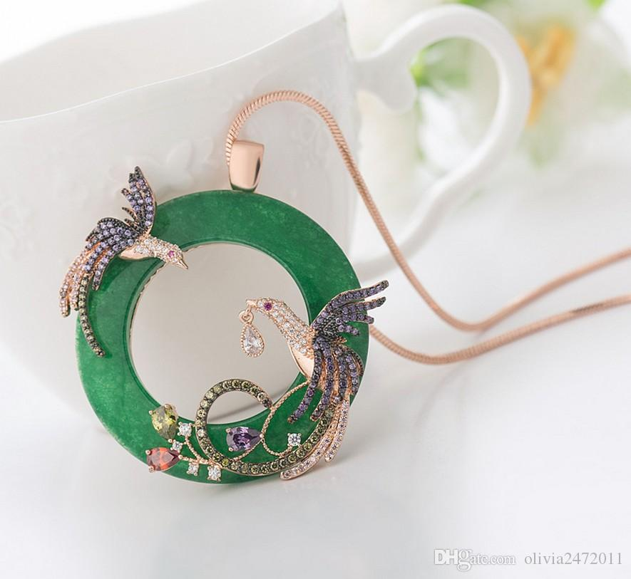 18K Silver Gold Chain Women Wedding Jewelry Round Faux Jade Double Full Shining Rhinestone Phoenix Birds Pendant Necklace TM