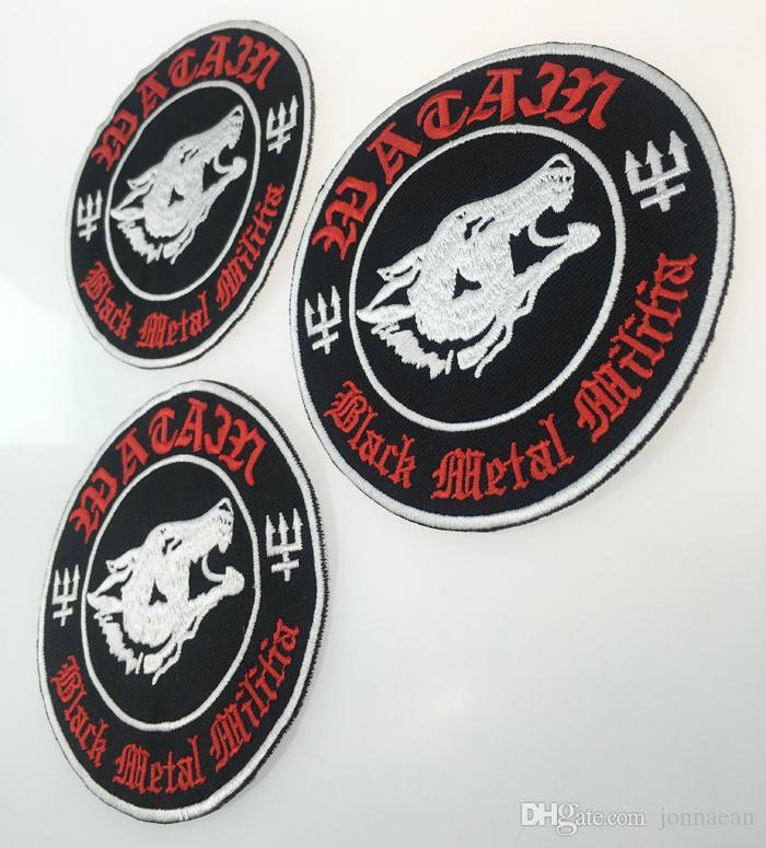 Il ferro su ordinazione della toppa del ricamo di METAL MILITIA del nero su ordinazione e su qualsiasi ricamo dettagliato del motociclo del motociclo 4