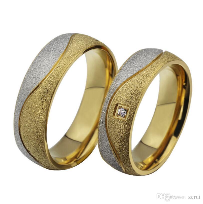 Grosshandel Mode Paar Verlobungsring Fur Frauen Manner Sand Gestrahlt