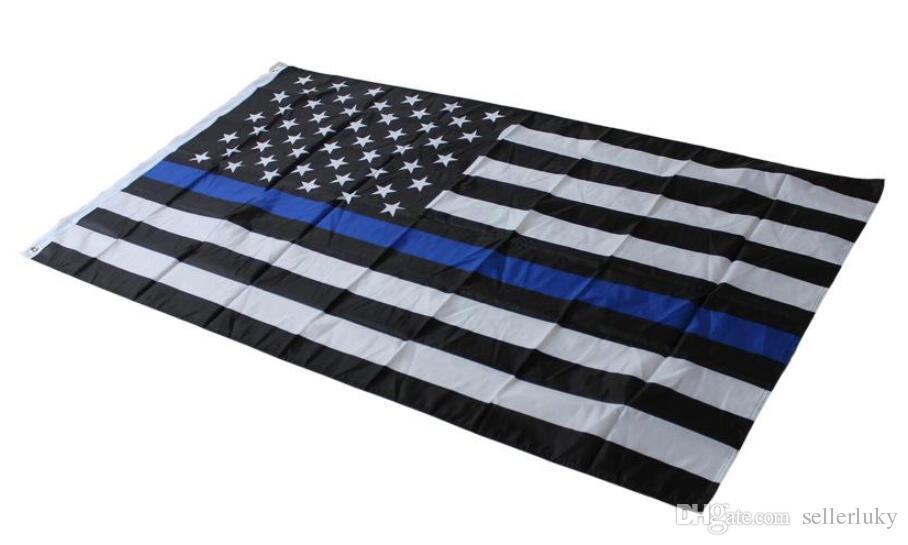 4 أنواع 90 * 150cm وأعلام BlueLine USA الشرطة 3X5 القدم رقيقة الخط الازرق USA العلم الأسود، الأبيض والأزرق العلم الأميركي مع الحلقات النحاس