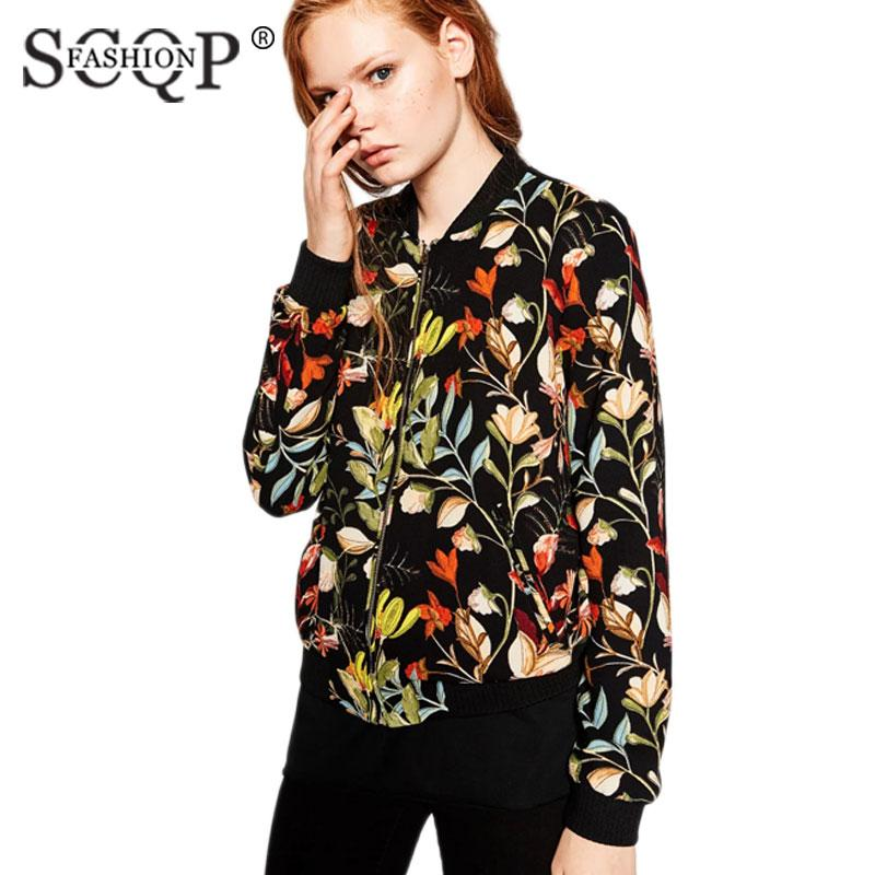 Wholesale Scqp Fashion Flowers Printed Ladies Jacket Black Autumn ...