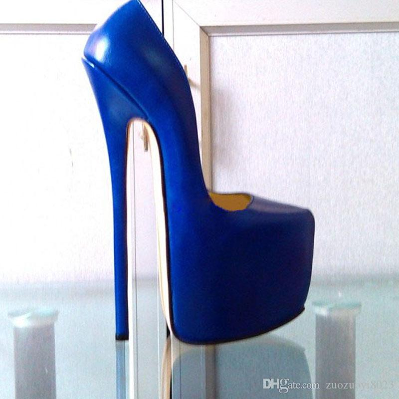 Customized Blue Patent Leather Pump EXTREME High HEEL 22CM Heel With Platform Women Pump Sexy Fetish High Heels Sexy Pump Single Shoes Show Shoes For Men ... & Customized Blue Patent Leather Pump EXTREME High HEEL 22CM Heel With ...