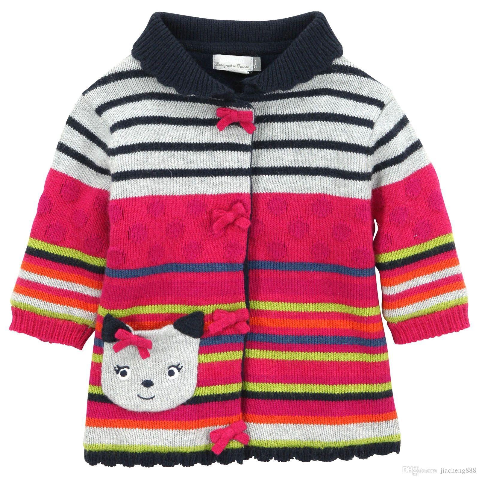 Yeni Çocuk Kız Kış Karikatür kedi kazak ceket çocuklar şerit kalınlaşma polar Kazak toptan