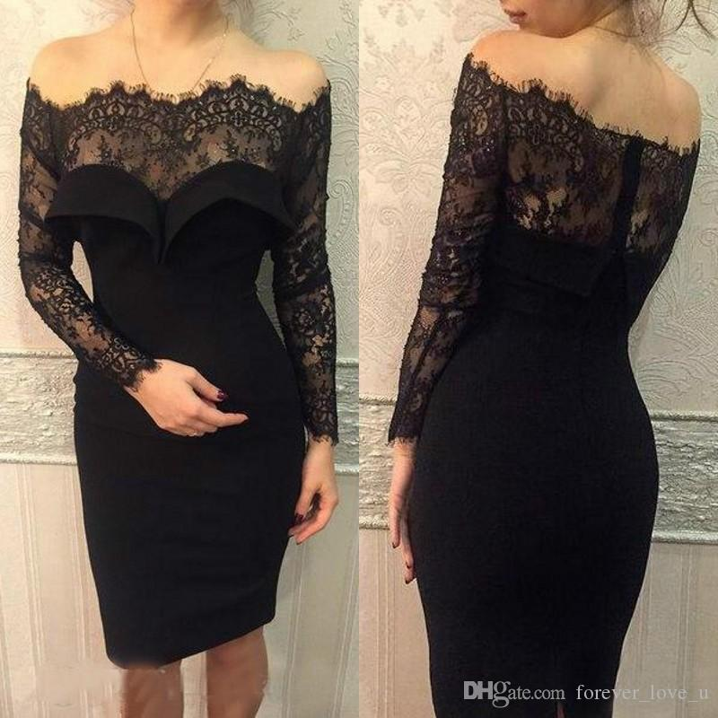 Sexy 2017 Little Black Dress Knee Length Cocktail Dresses Sleeves