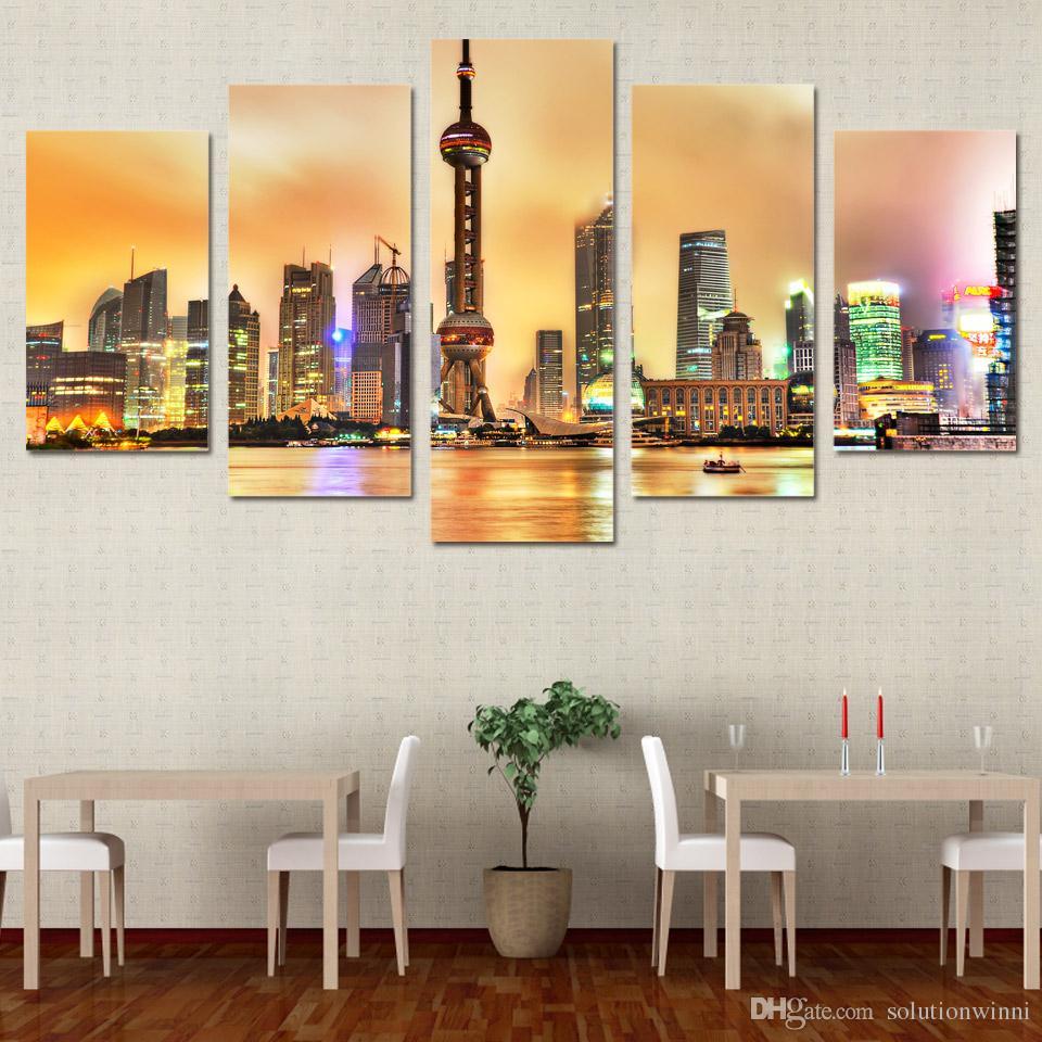 5 шт. HD Печатный современный город Шанхай картина живопись Pictre Print Wall Art House Decor Decor Pocter Canvas Paint
