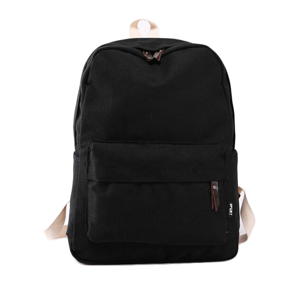 Wholesale- Hot Sale New Fashion Women Canvas Backpacks Simple Student School Bags For Girl Casual Solid Color Travel Bag Gift Free Shipping