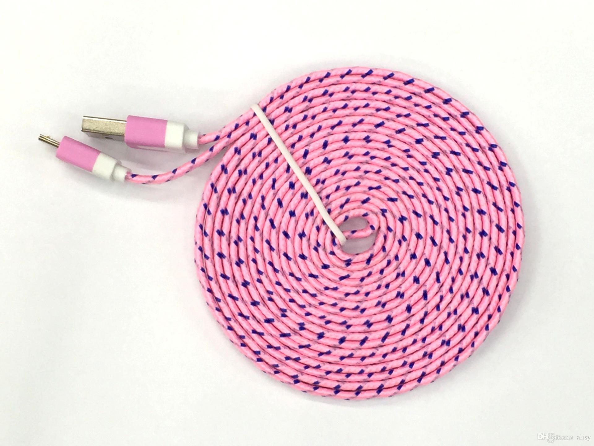 Corde de charge pour tresse plate 10FT 6ft 3FT Nouille 10 Ligne de câble de données de tissu tissé de sync de tissu micro fil Samsung S6 S7 EDGE