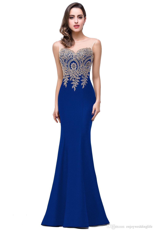 Sexy Sheer Neck senza maniche Designer Abiti da sera Mermaid in pizzo Appliqued lunghi abiti da ballo Red Carpet economici Bridesmaid Dress Under 50
