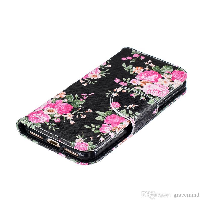 Fundas de cuero de la cubierta del tirón de la pintura para Iphone X 8 5 6S 7 7 más titular trasero del soporte Titular de la tarjeta de crédito ranuras del teléfono