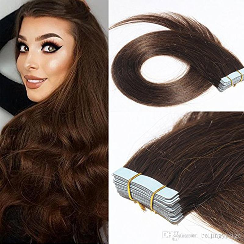 Indian Remy Tape In Human Hair Extensions 100g Skin Weft Pu Tape
