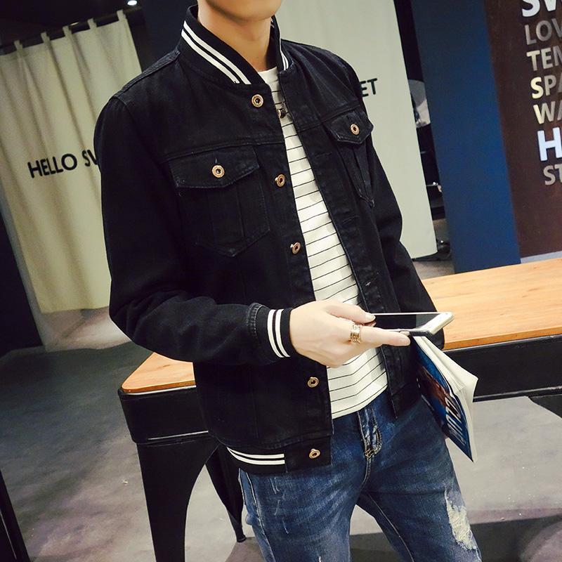 41cecabe8b2 Wholesale Autumn Winter Black Denim Jacket Men Striped Baseball Collar  Windbreak Mens Jeans Jackets Pockets Fashion Slim Fit Male Coats Jean  Jackets Men ...