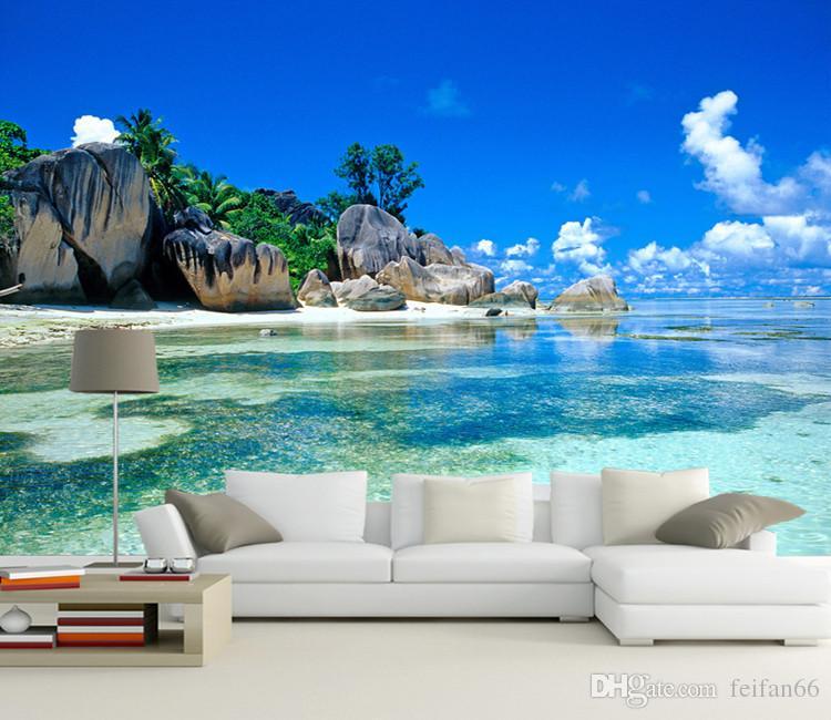 Пользовательские 3D настенная роспись обои нетканые спальня Livig комната ТВ диван фон обои океан море пляж 3D обои Home Decor