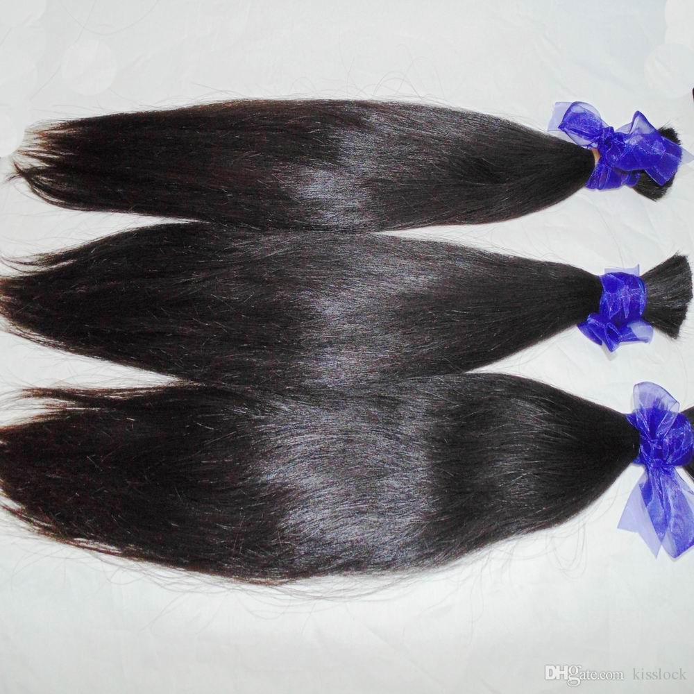 Wholesale BUlk Straight Brazilian Virgin Human Hair braiding Thick Bundles Natural Color Uhprocessed