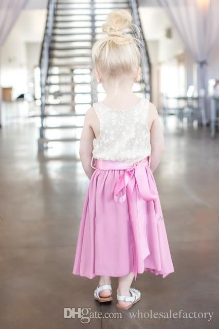 Cute Baby Blue Flower Girl Dress A Line Jewel Neck Lace Top Chiffon Skirt and Flower Sash for Belt Spring Summer Occasions Dresses