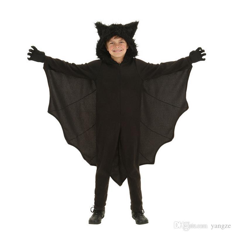 Halloween Animal Cospaly Kids Black Bat Vampire Costumes for Children Boy Gril Cosplay Costume Jumpsuit RF0186