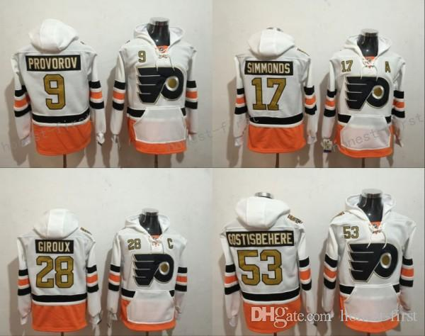 quality design 7df6d 8bb1c 50th Anniversary Patch Philadelphia Flyers Hoodie White 17 Wayne Simmonds  28 Claude Giroux 53 Shayne Gostisbehere 9 Ivan Provorov Sweatshirt