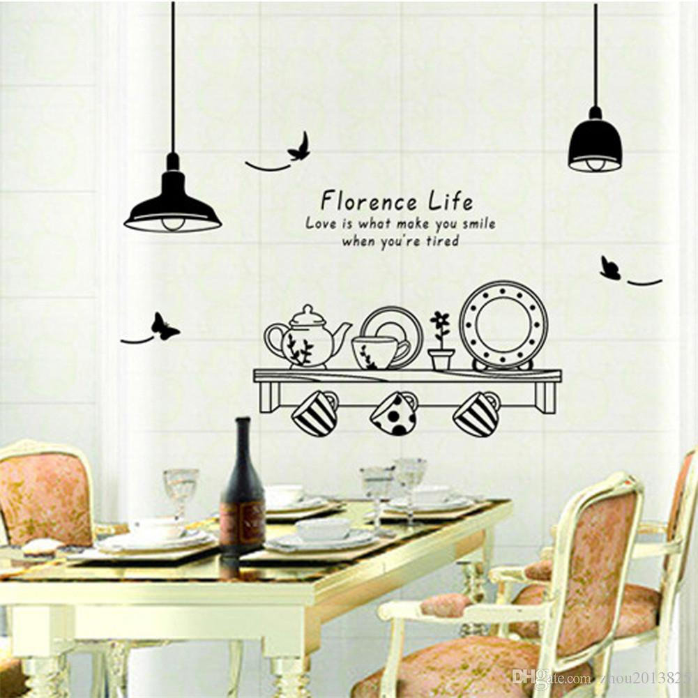 Kitchen Utensils Butterfly Letter Removable Wall Stickers Art Decals ...