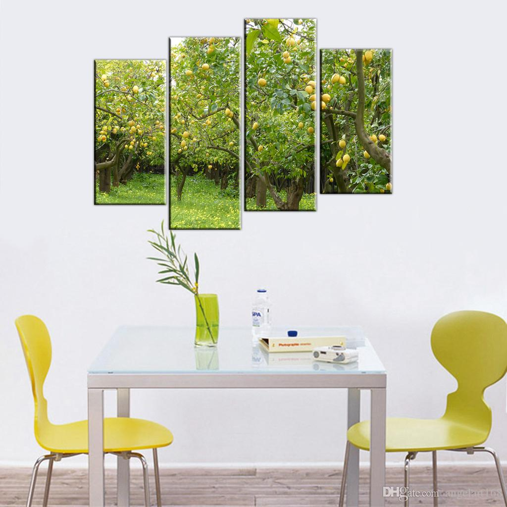 2018 Unframed Lemon Trees Orchard Print On Canvas Wall Art Picture ...